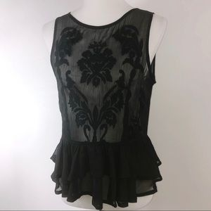 Guess Black Sheer Embroidered Tank